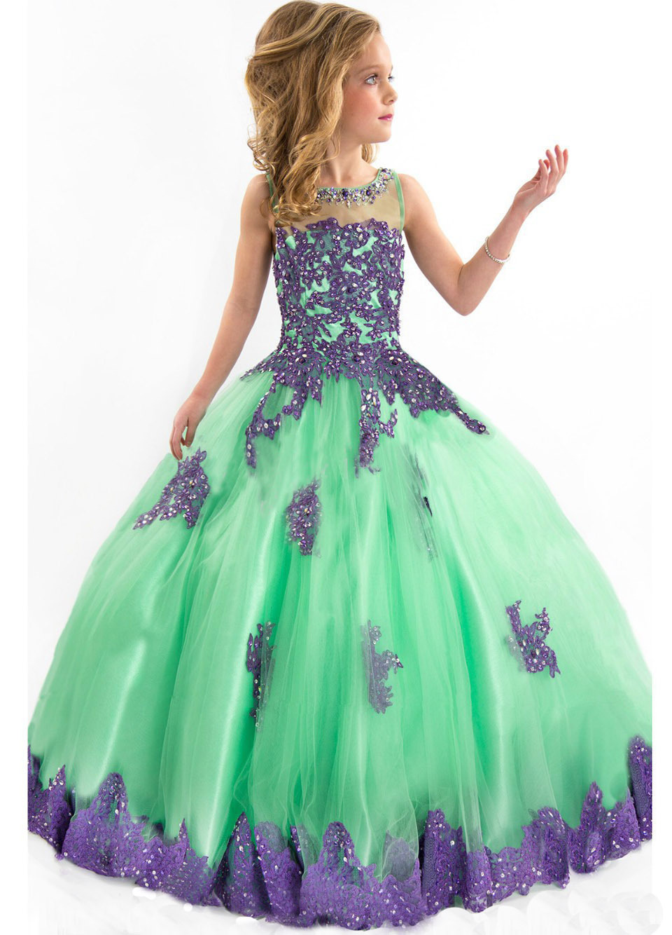 Cheap flower girls dresses find flower girls dresses deals on get quotations beaded tulle purple applique embroidery girls glitz crystal dresses little girls gown gorgeous pageant dresses for izmirmasajfo