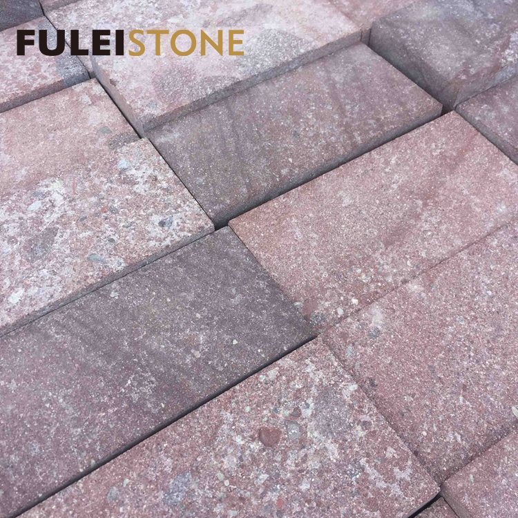 Outdoor flamed cheap chinese red porphyry granite paving stone