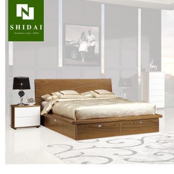 Hot Stylish Wood Double Bed Designs With Box B 814