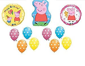 11pc. Peppa Pig Happy Birthday Balloon Set Bouquet, Model: , Toys & Play