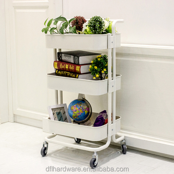 Metal 3 Tier Rolling Cart Kitchen Vegetable Storage