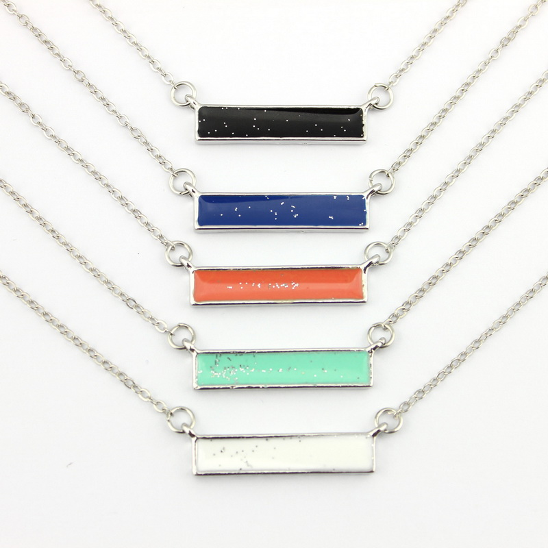 5 цветов серебряный тон эмали горизонты бар ожерелье-бесплатная лето мода женщины бутик минимальная ювелирные изделия оптовая продажа