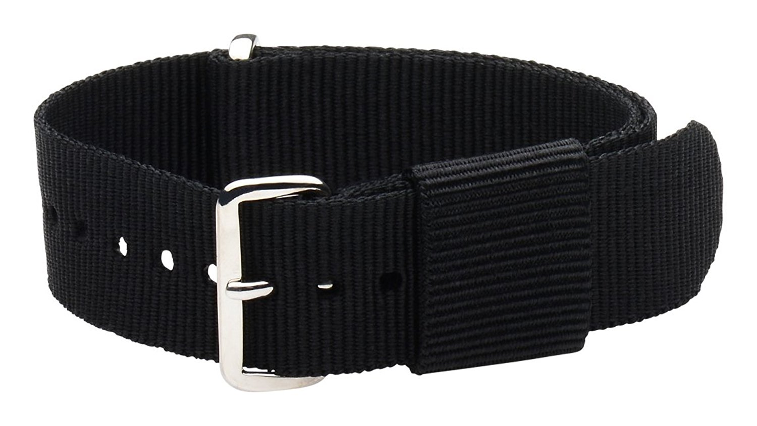 22mm Nato Ss Nylon Loop Solid Black Interchangeable Replacement Watch Strap Band