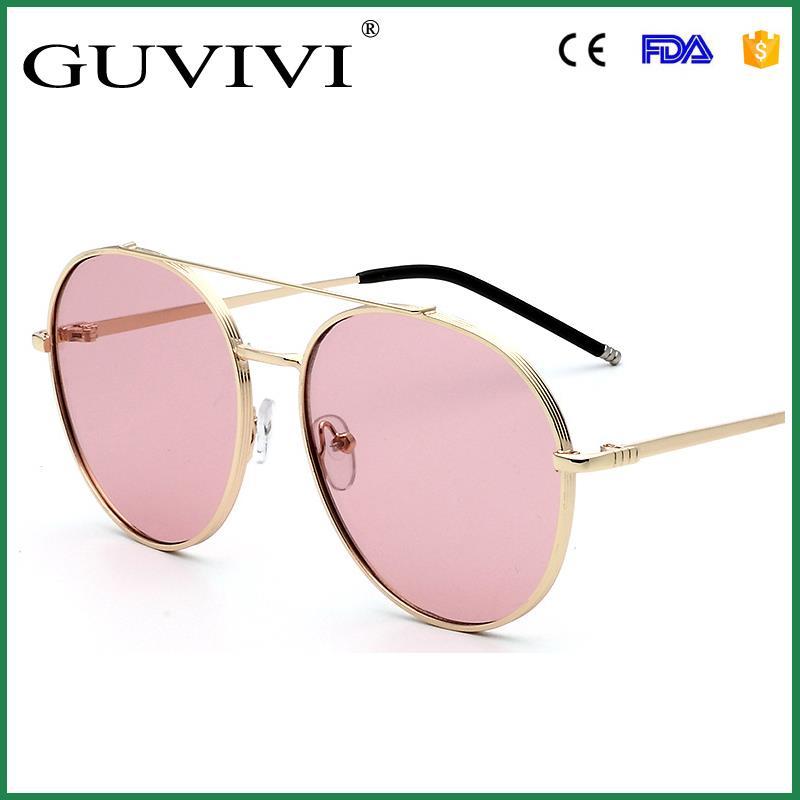 6867c91b5e Guvivi nueva moda Rosa oro doble haz sol embalaje original las gafas de sol  de la