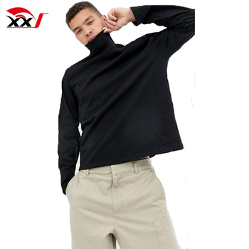men clothing no brand custom 100% cotton plain t shirt loose fit long sleeve tshirt with turtle neck