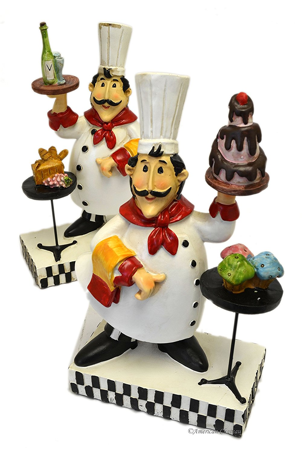 Get Quotations Set Of 2 Resin 10 5 Distressed Fat French Chef Figurines Statues Kitchen Decor