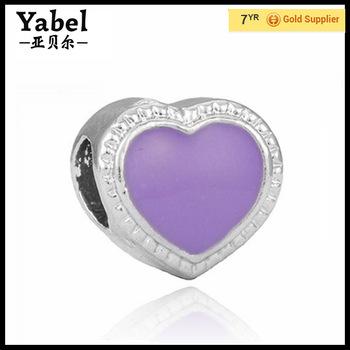 Jewelry Making Supplies Wholesale China 925 Silver Purple Heart