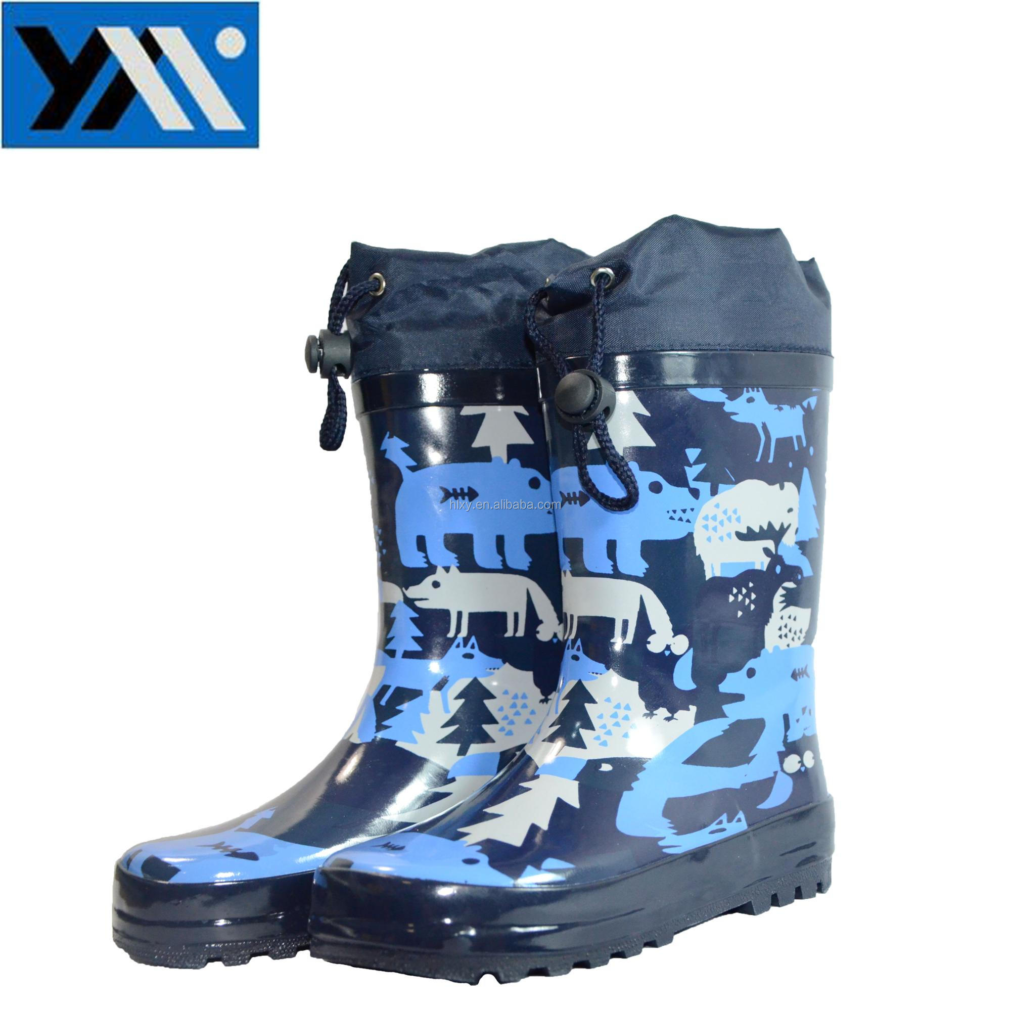 fashion army green kid's rubber rain boots wellington boots