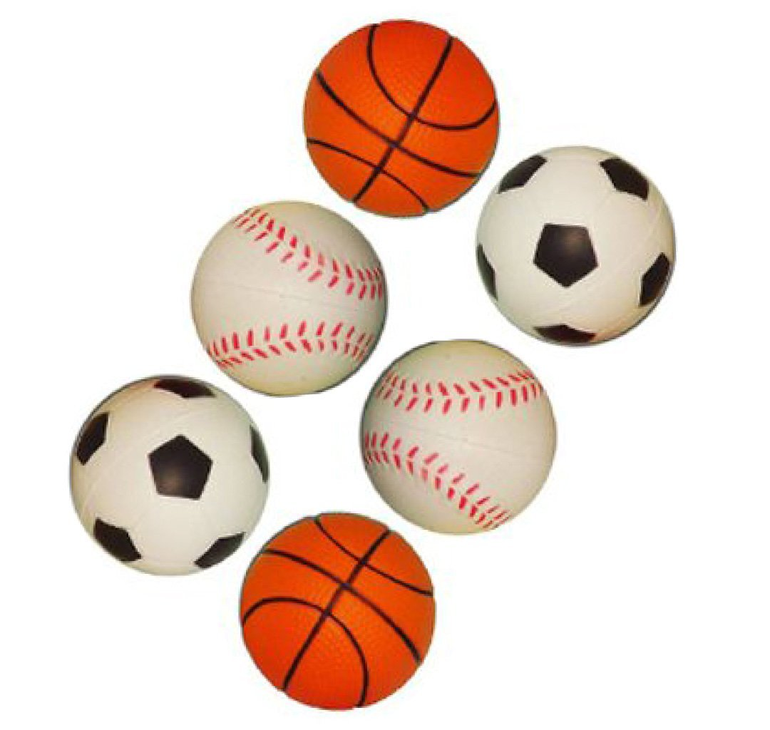 Yabber® Set of Six 2 Inch Mini Sports Toy Foam Balls Miniature Basketball Baseball Soccerball Softball Little League Sport Baby Boy Girl Party Favors Safe Indoor or Outdoor Play Stress Squeeze Balls