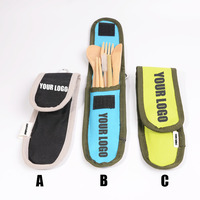 Traveling equipment with carrying bag hiking camping outdoor portable bamboo travel cutlery set