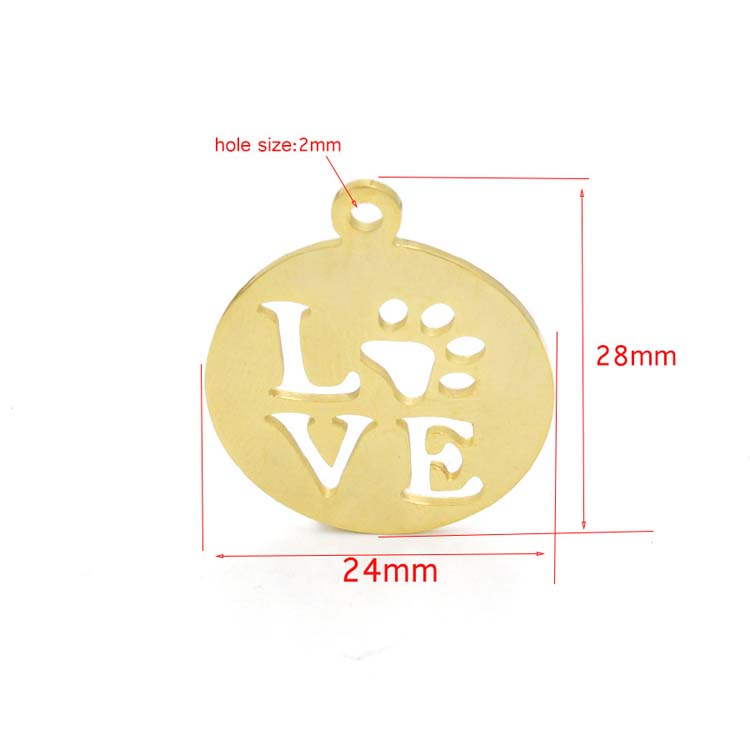 Hollow LOVE Dog Claw Footprints Pendant DIY Jewelry Accessories Stainless Steel Charm