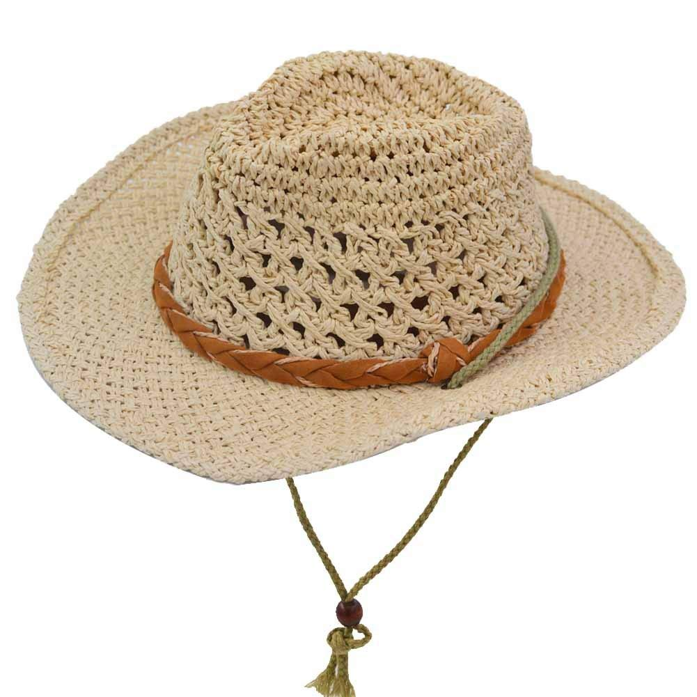 Get Quotations · Yosang Kids Western Straw Hat Outdoor Summer Sun Hat  Breathable Traveling Cowboy Cowgirl Hat 7129945c3074