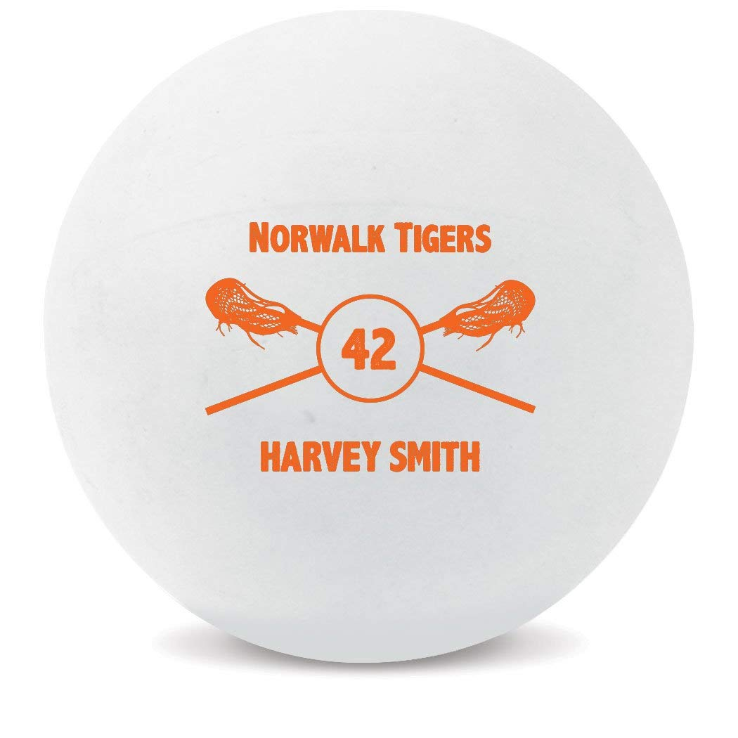 Personalized Lacrosse Team Ball | Custom Printed Name Number & Team Award Lax Ball by ChalkTalk SPORTS | White Ball | 5 Colors