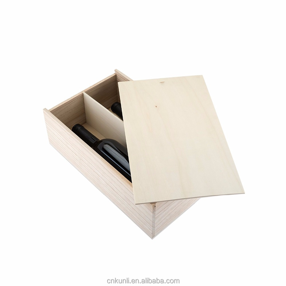 high quality Marketplace 2 Bottle Paulownia Wood Wine Box, Brown