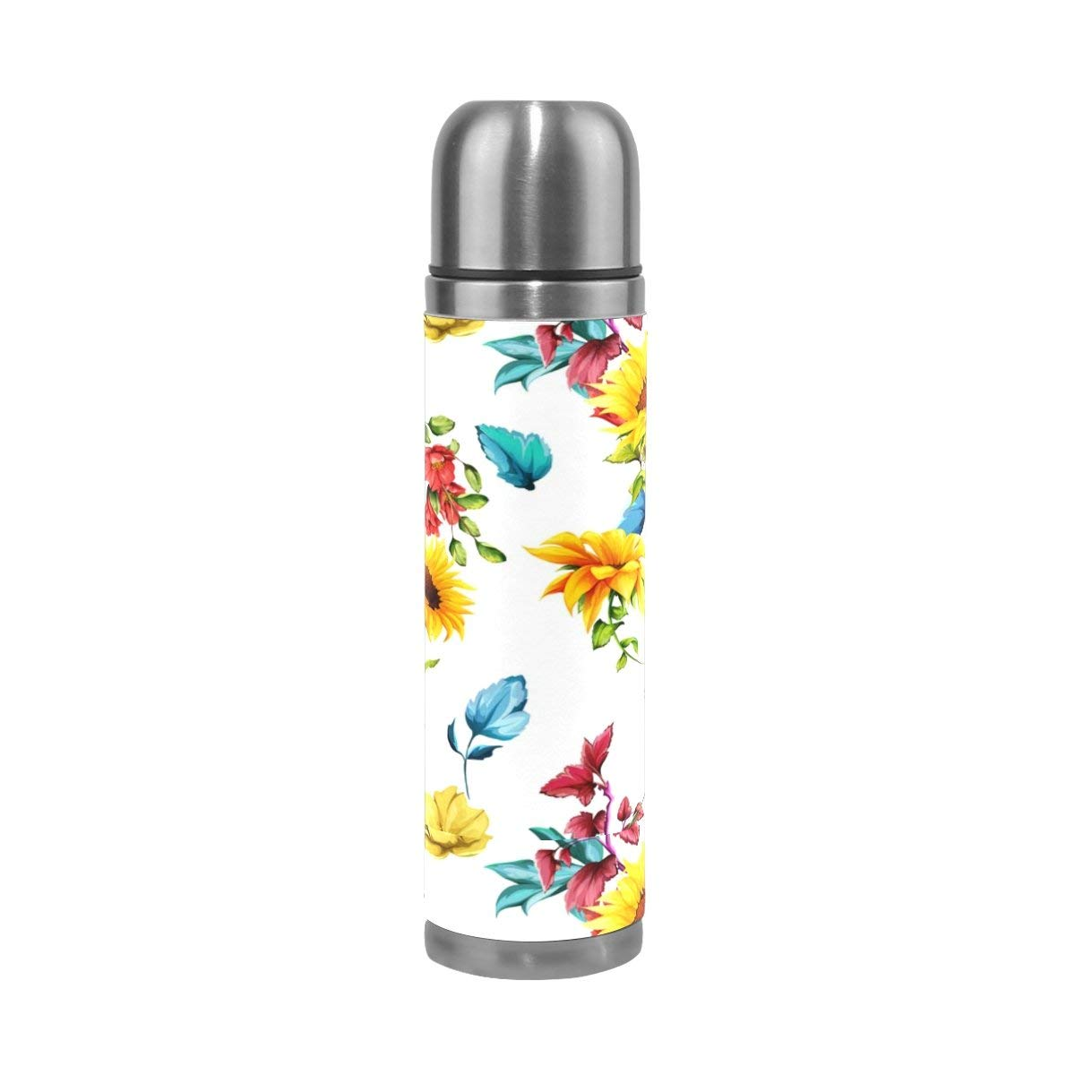 ALAZA Colorful Sunflowers Stainless Steel Water Bottle Vacuum Insulated Thermos Double Wall Flask Genuine Leather Cover 17 OZ