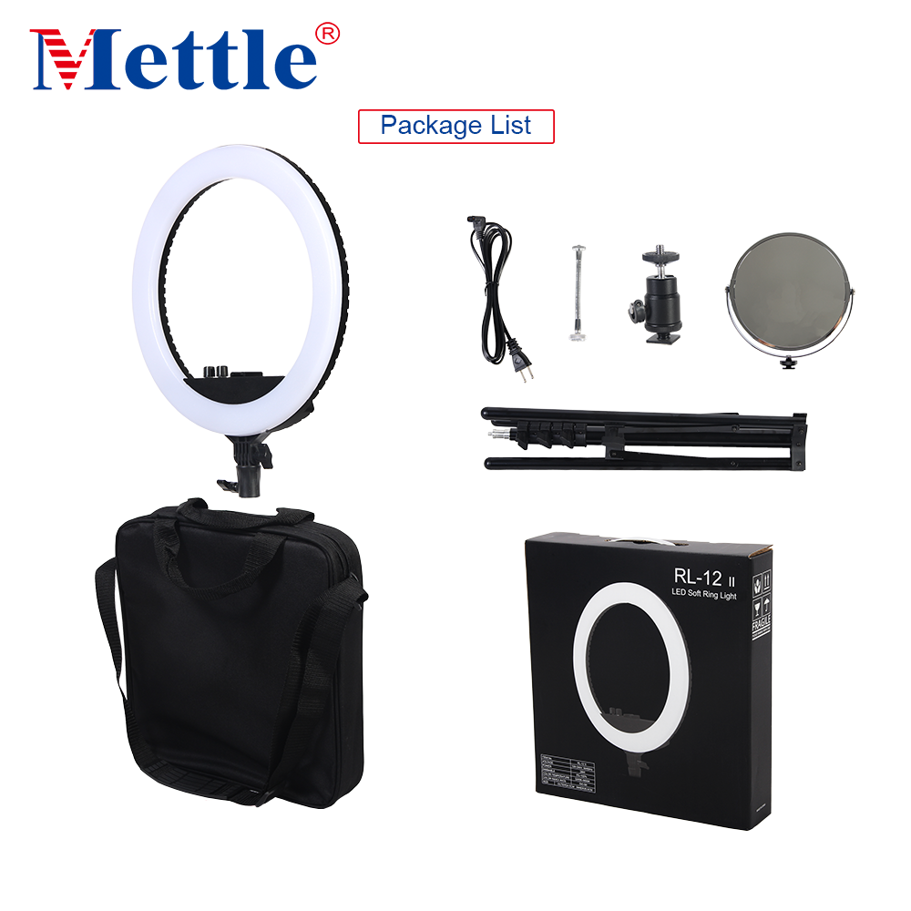 Mettle 12'' Hot Sell Photo Studio LED Dual Color Dimmable Ring Light with Mirror Carry Bag Stand