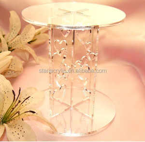 2 Layer Clear Acrylic Cupcake Table Stand, Transparent 2 Tier Acrylic Wedding Cake Stand