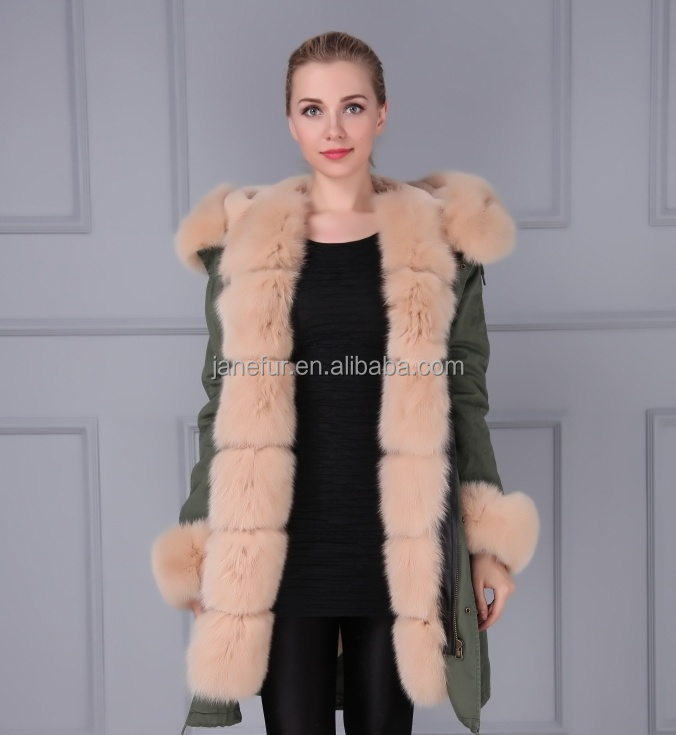 Wholesale good quality khaki fox fur trim padded parka with cheap price