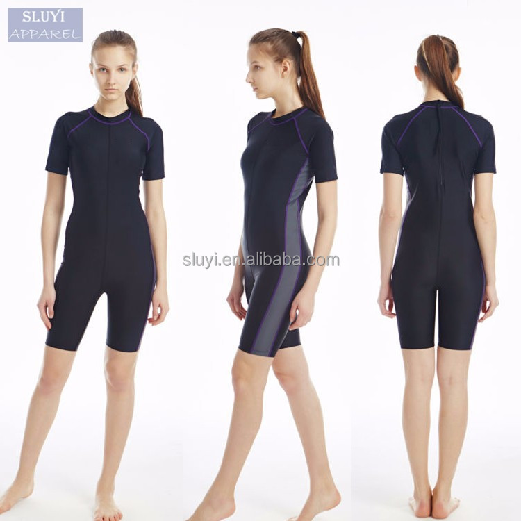 One-Piece Swimwear surf Clothing women Slim fit Retro black short sleeve Sports Breathable Quick Dry woman wetsuit surfing suit