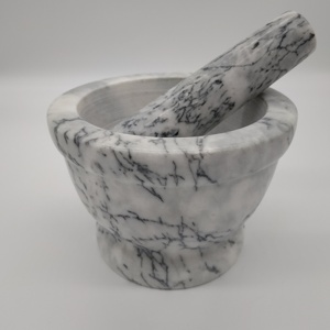 Marble Mortar and Pestle with Polished Surface