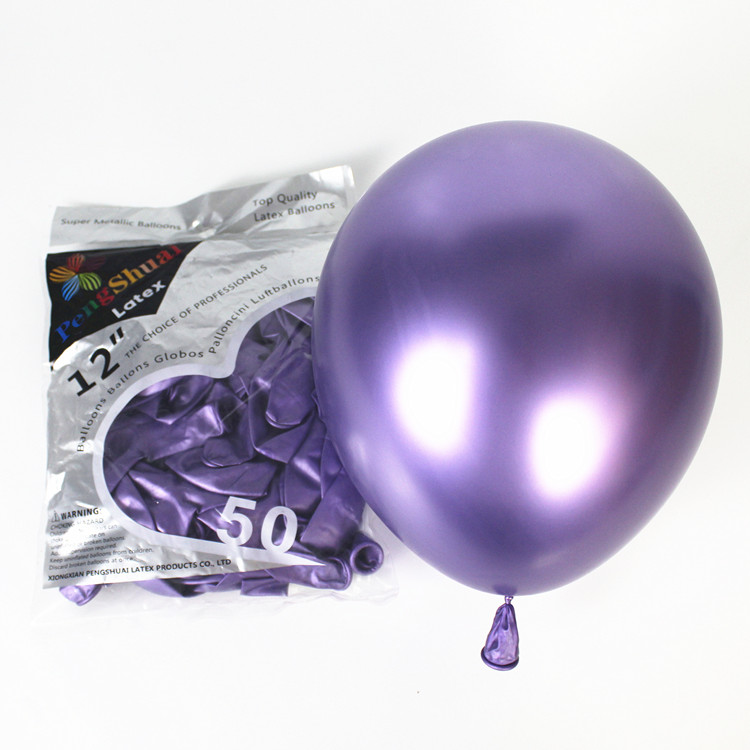 New Arrival Metallic Color 12Inch Solid Chrome Latex Balloons
