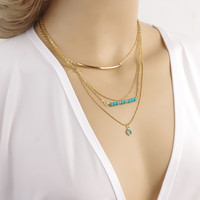 Best Selling Turquoise Beads Gold Plating Multilayer Evil Eye Pendant Necklace