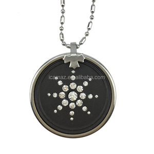 Model No.p15 round shape black Bio energy pendant with Lave stone & negative ions