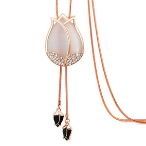 Korean New Necklace Tulip Crystal Necklace Flower Shape Tassel Necklace Accessory