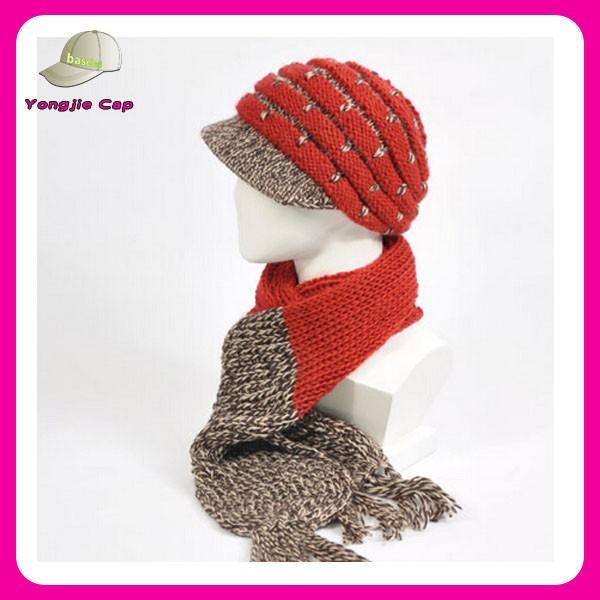 Visor Pattern Knitted Hat Scarf Glove Set Winter Hat Scarf
