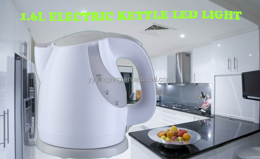 1.6L plastic kettle with LED CE/ROHS/LFGB