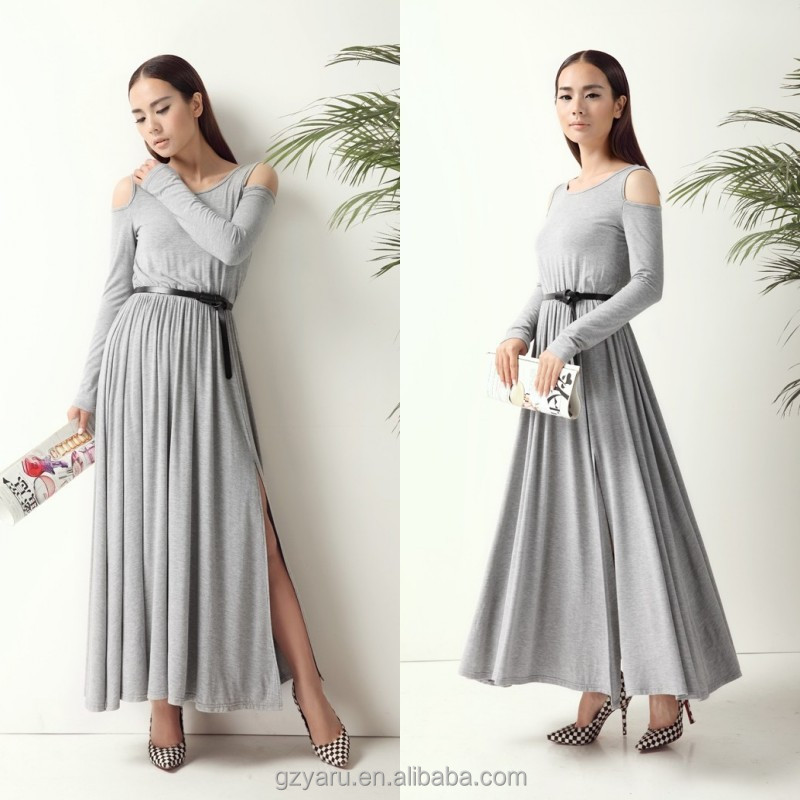 Women fashion long sleeve cold shoulder maxi grey solid color 100% cotton jersey dresses