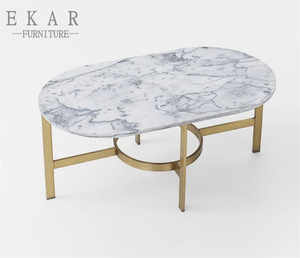Mental Legs Oval Marble Top Center Table Furniture