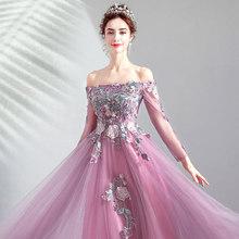 Женское вечернее платье It's YiiYa, длинное ТРАПЕЦИЕВИДНОЕ ПЛАТЬЕ-трапеция с длинными рукавами и вырезом лодочкой, модель E245 на заказ, 2019(Китай)