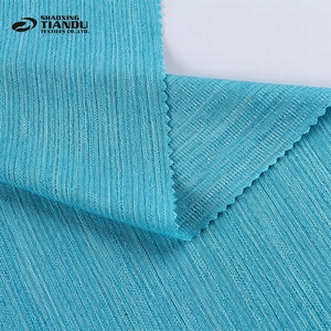 New products blue yarn dyed tricot knit elastic jersey 95% polyester 5% lycra fabric