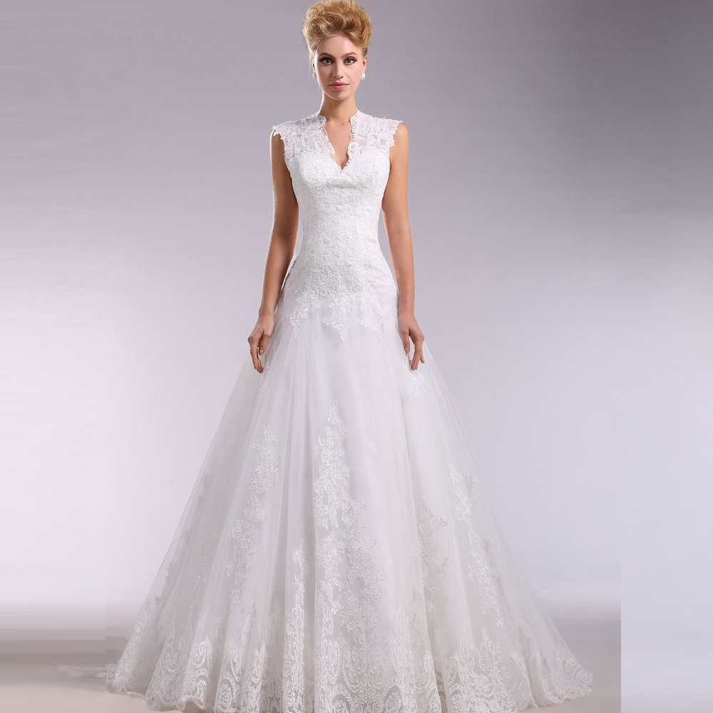 Aliexpress.com : Buy JAEDEN V Neck Wedding Dresses Lace