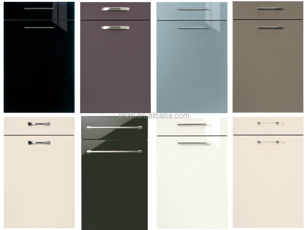 Hoogglans acryl spiegel afwerking grijze kleur keuken kast deuren ...