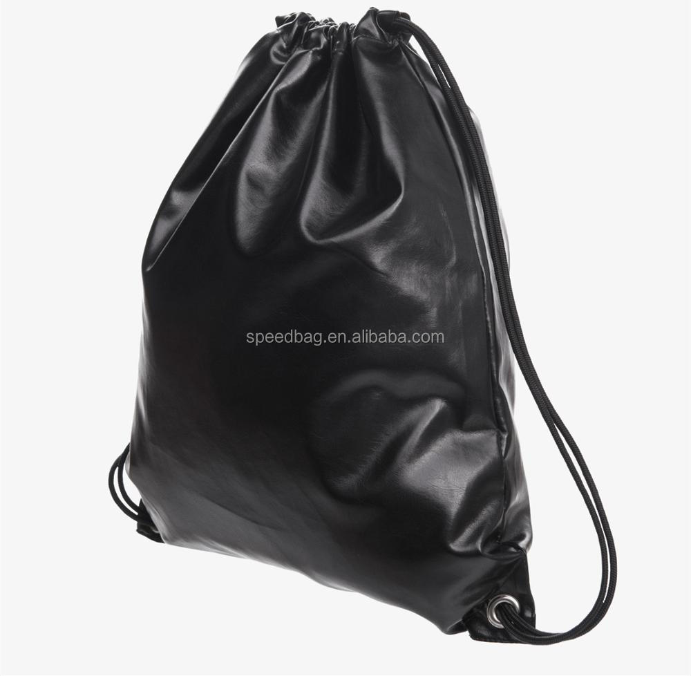 customize new hot sale women black PU leather drawstring bag