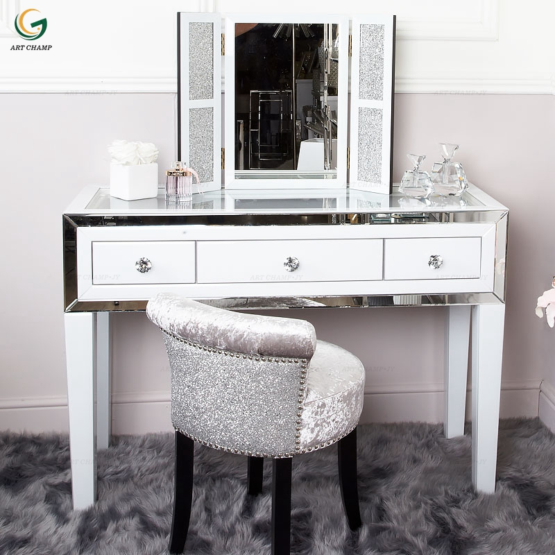 Modern Bedroom Furniture Luxury Model White Glass Mirrored Dressing Table -  Buy Mirrored Dressing Table Product on Alibaba.com