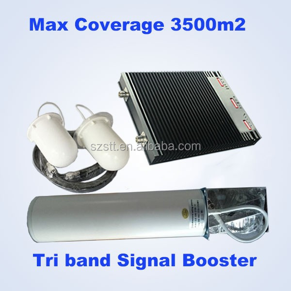 Tri-band GSM Repeater , Mobile phone signal booster 900 1800 2100mhz triple band 2g 3g 4g repeater