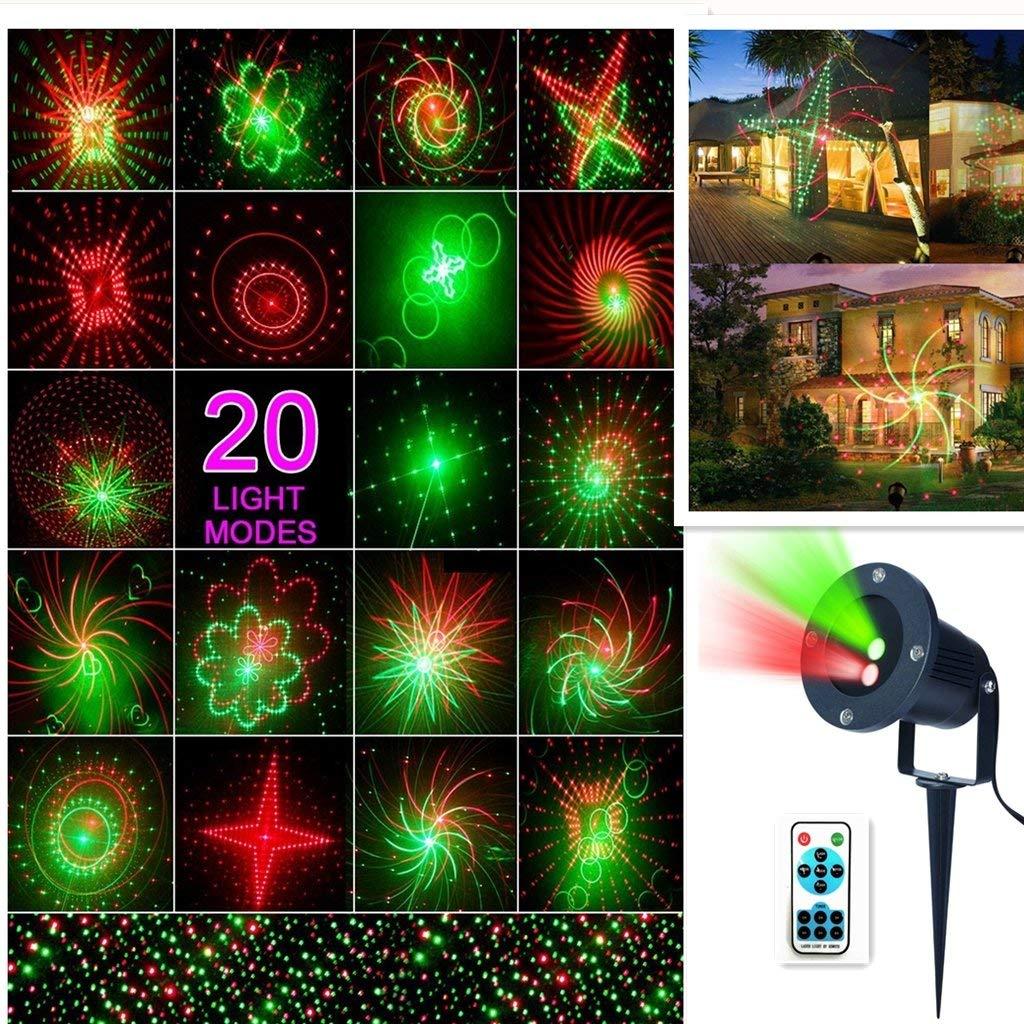 Laser Star Light Christmas LED Projector Light 20 pattern Landscape Laser Stage Shows Projector Light Waterproof Outdoor Garden Spotlight for Christmas Party Disco Wedding Birthday Decoration Lighting