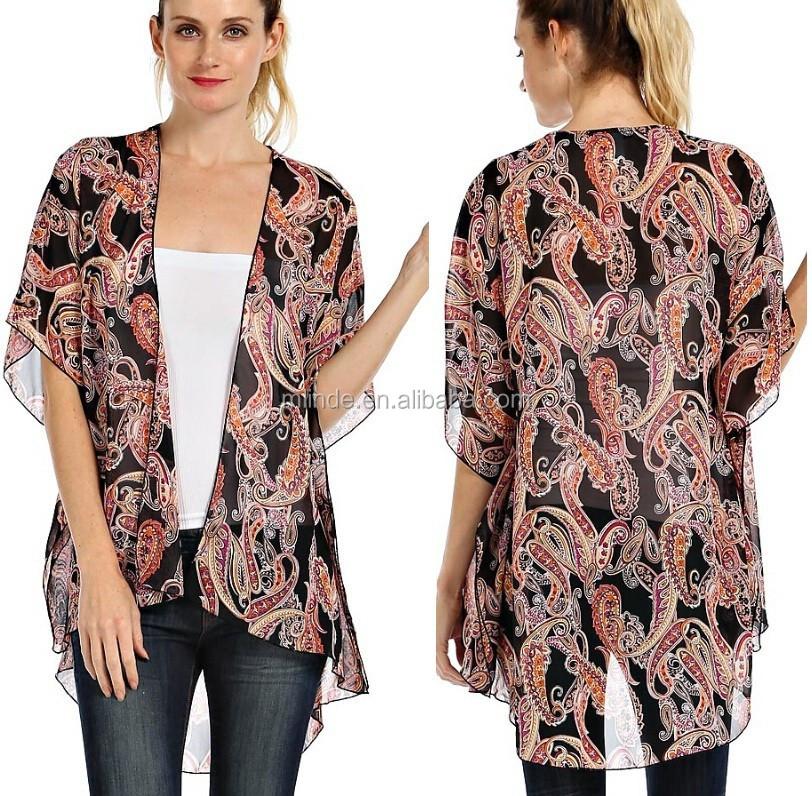 Wholesale Women Paisley Print Chiffon Open Kimono Cardigan - Buy ...
