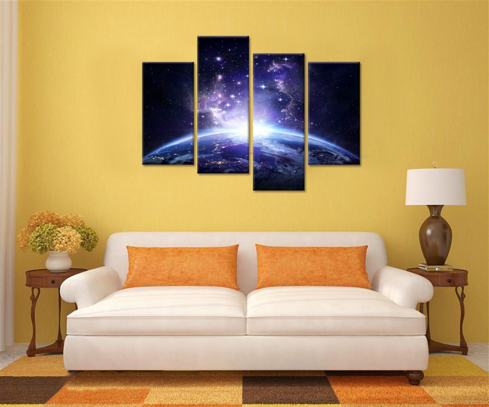 Starry Night Canvas Wall Art Prints For Living Room,Fancy Earth ...