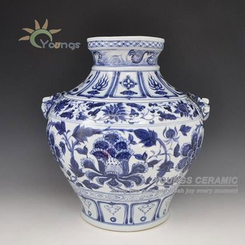 Old Chinese Yuan Dynasty Hand Painted Blue White Vase Buy Yuan