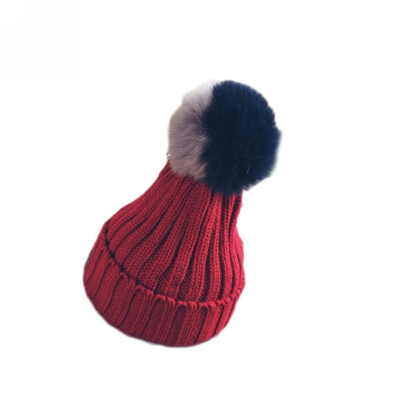 Parent-child Hat Two-color Fur Pompom Hat Winter Knit Womens Girls Cap Beanie.