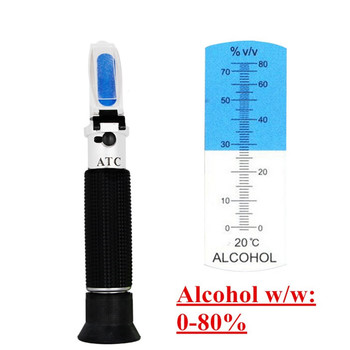 handheld alcohol tester 0-80%  refractometer oenometer monitor detector of liquor meter with ATC