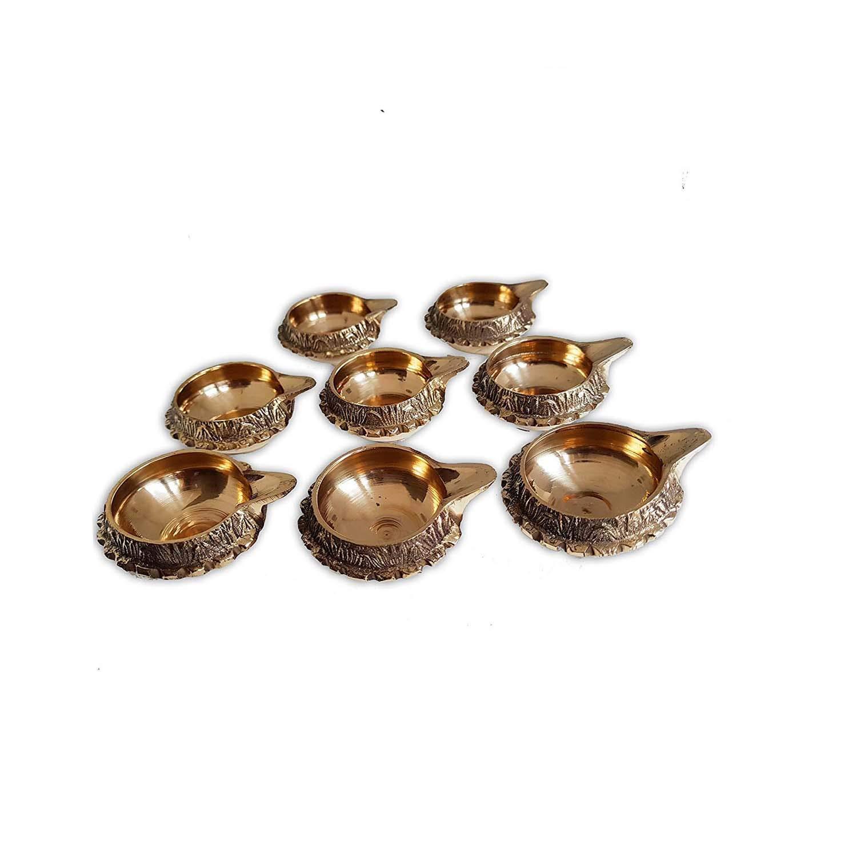 eafba9d69d5 Set of 8 Brass Kuber Diya Hindu Lakshmi Puja Oil Lamp Navratri Diwali  Christmas