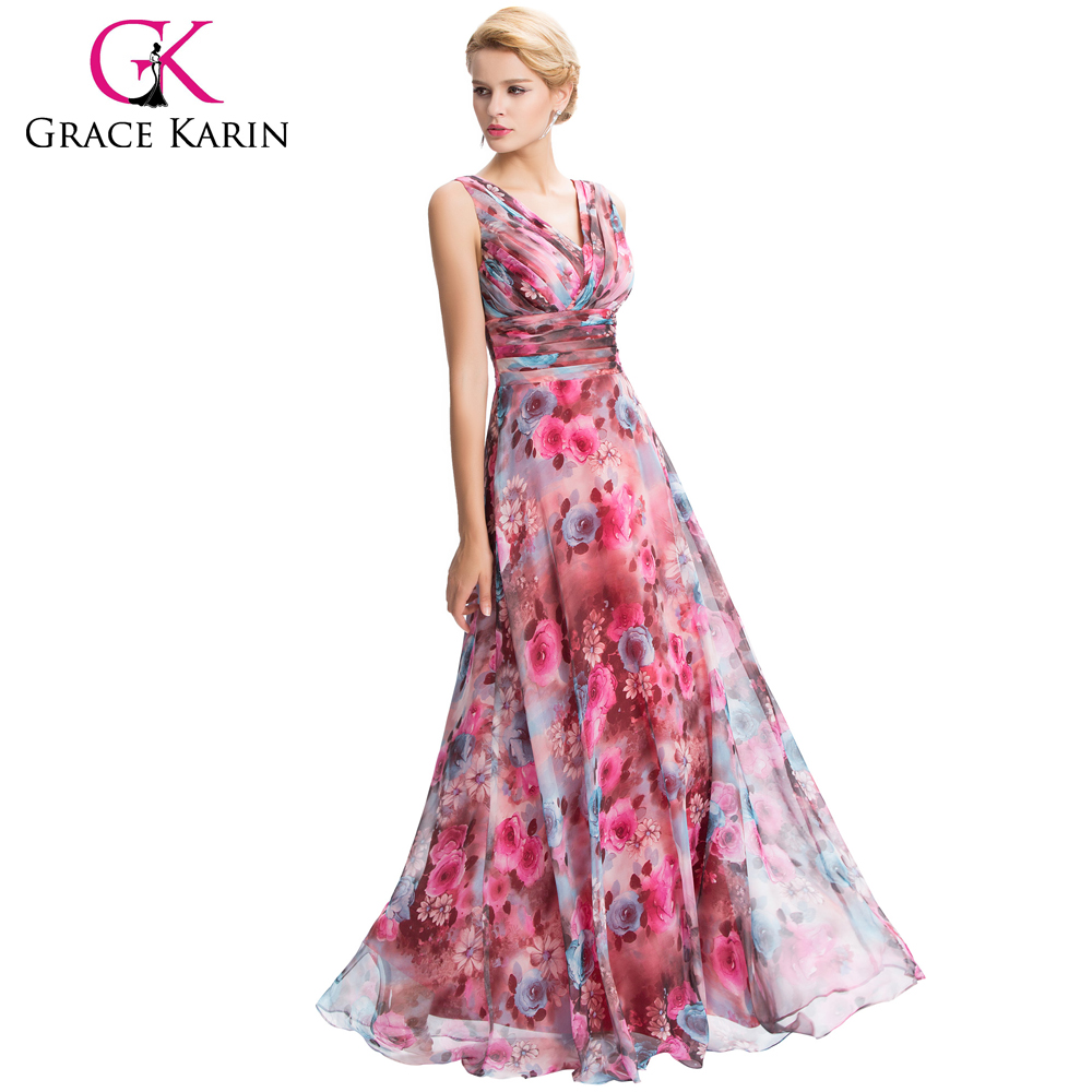 Grace karin new sleeveless v neck floral pattern chiffon long grace karin new sleeveless v neck floral pattern chiffon long bridesmaid dress gk000058 1 buy chiffon long bridesmaid dressfloral pattern chiffon ombrellifo Images