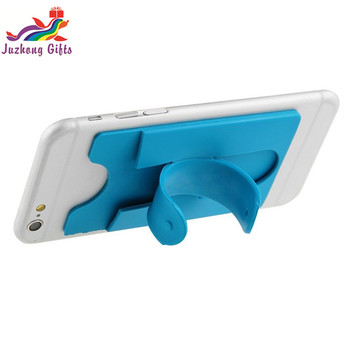 3M sticker silicone mobile phone card pocket with stand holder