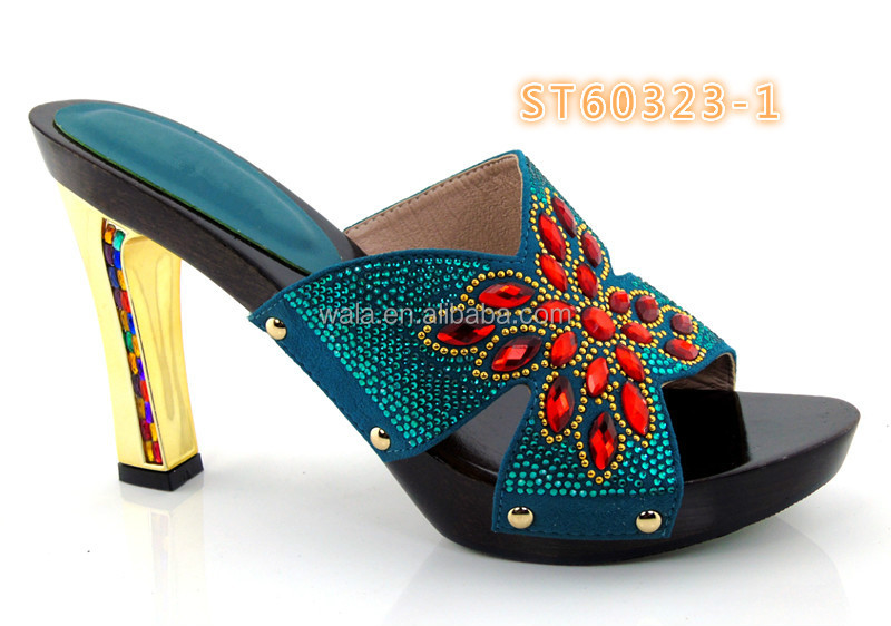 high shoes 1 and lady ST60323 heel with TEAL african rhinestone GREEN crystal for TYtnndazW