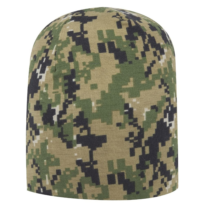 "Otto Digital Camouflage Polyester Jersey Knit 9 1/2"" Lightweight Beanie - OL.Grn/D.Grn/Blk"